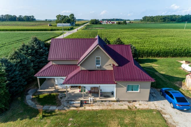 This is a completed metal roof by a roofing contractor in Fort Wayne, IN.